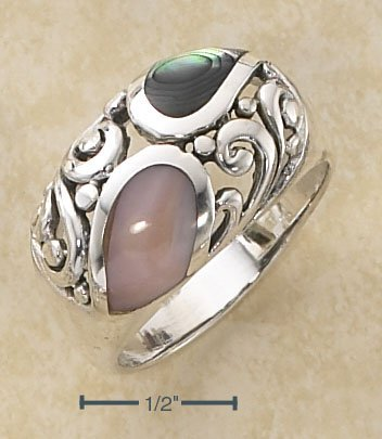 STERLING SILVER ABALONE & PINK SHELL INLAY SCROLLED DOME RING
