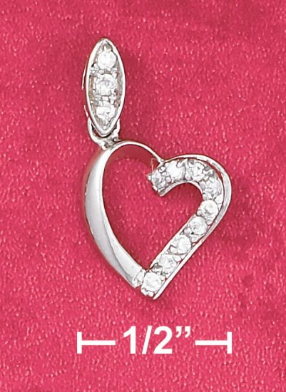 STERLING SILVER- OPEN HEART PENDANT WITH CZ ACCENT