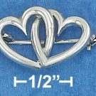 STERLING SILVER- DOUBLE OPEN HEARTS PIN