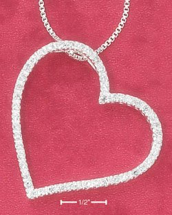 """SILVER LARGE OPEN HEART W/  CZ SLIDER ON 18"""" BOX CHAIN NECKLACE **FREE SHIPPING ITEM**"""