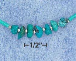 STERLING SILVER- TURQUOISE NUGGET 16 INCH CHOKER **FREE SHIPPING**