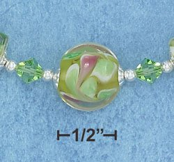 STERLING SILVER- ADJUSTABLE LENGTH LIME SWIRL GLASS BEADS NECKLACE