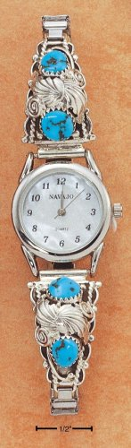 STERLING SILVER LADIES TURQUOISE NUGGET WATCH **FREE SHIPPING**