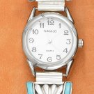 TERLING SILVER LADIES STRETCH BAND WATCH W/ TURQUOISE INLAY & SUNBURST DESIGN **FREE SHIPPING**