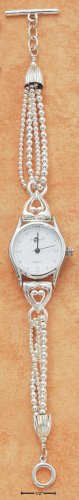 STERLING SILVER TRIPLE BEAD CHAIN WATCH W/ TOGGLE **FREE SHIPPING**