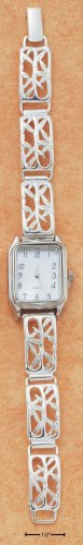 STERLING SILVER OPEN BAMBOO DESIGN W/ MOTHER OF PEARL RECTANGULAR FACE WATCH  **FREE SHIPPING**