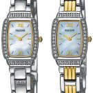 PULSAR LADIES TWO TONED REVERSIBLE CRYSTALWATCH W/ SWAROVSKI CRYSTALS **FREE SHIPPING**