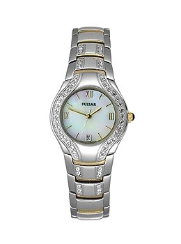 PULSAR- LADIES COLLECTION TWO TONE WATCH W/ SWAROVSKI CRYSTALS **FREE SHIPPING**