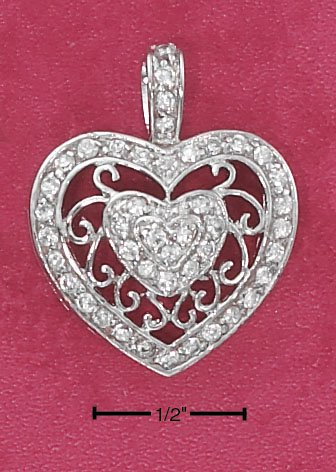 STERLING SILVER PAVE CZ HEART CHARM WITH FILIGREE BAND