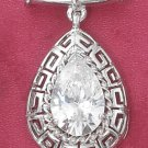 STERLING SILVER- CLEAR CZ TEARDROP SLIDE PENDANT W/ GREEK KEY BORDER