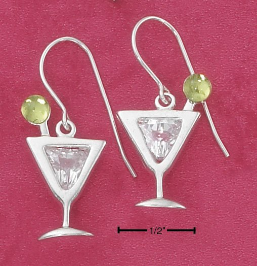STERLING SILVER MARTINI GLASS W/ CLEAR CZ & PERIDOT FRENCH WIRE EARRINGS