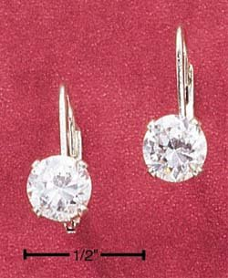 STERLING SILVER 6MM ROUND CUBIC ZIRCONIA LEVERBACK EARRINGS  **FREE SHIPPING**