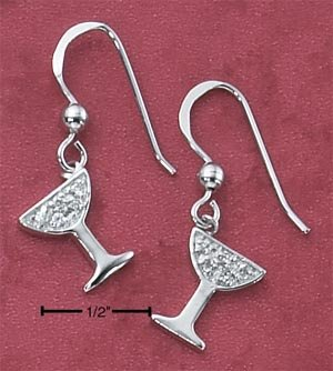 STERLING SILVER PAVE CZ CHAMPAGNE GLASS FRENCH WIRE EARRINGS **FREE SHIPPING**