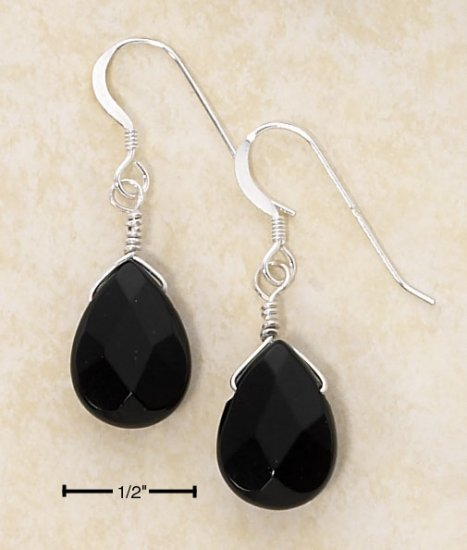 STERLING SILVER FACETED ONYX TEARDROP FRENCH WIRE EARRINGS  **FREE SHIPPING**