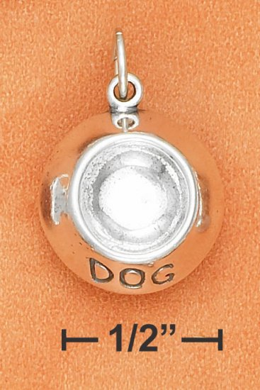 """STERLING SILVER 3D """"DOG"""" BOWL CHARM   **FREE SHIPPING**"""