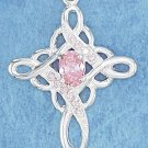 STERLING SILVER- LOOP CROSS PENDANT W/ PINK CZ