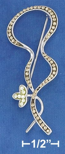 STERLING SILVER  SQUIGGLE & FLOWER RHINESTONE PIN **FREE SHIPPING**