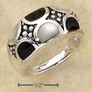 STERLING SILVER ONYX & WHITE MOP SEMI-CIRCLE INLAYS RING  **FREE SHIPPING**