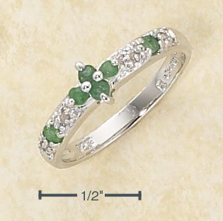 STERLING SILVER EMERALD FLOWER  & DIAMOND ACCENT RING  **FREE SHIPPING**