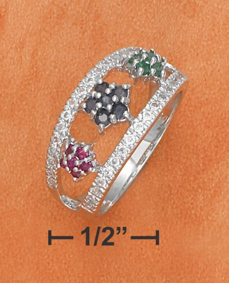Sterling silver open dome ring with cz edges and emerald, sapphire, & ruby flowers
