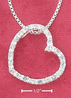 """STERLING SILVER  OPEN HEART W/PALE BLUE GLASS SLIDER ON 16"""" BOX CHAIN NECKLACE **FREE SHIPPING**"""