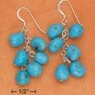 STERLING SILVER TURQUOISE PEBBLE BEAD DANGLE FRENCH WIRE EARRINGS **FREE SHIPPING**