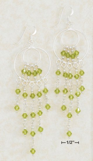 STERLING SILVER WATERFALL EARRINGS W/ GREEN SWAROVSKI CRYSTAL **FREE SHIPPING**