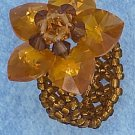 ORANGE COLOR SWAROVSKI CRYSTAL FLOWER ON ORANGE BEADS RING
