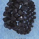 BLACK COLOR SWAROVSKI CRYSTAL FLORALS ON BLACK BEADS RING