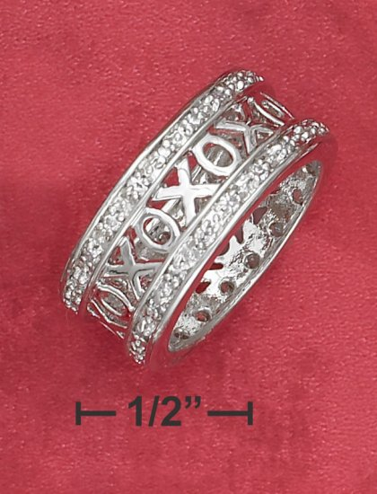 "STERLING SILVER ""XOXO"" BAND RING WITH CZ BORDER"