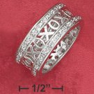 """STERLING SILVER """"XOXO"""" BAND RING WITH CZ BORDER"""