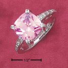STERLING SILVER 10MM PRINCESS CUT CUSHION PINK CZ RING W/ PAVE SHANK  **FREE SHIPPING**