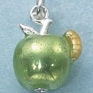 STERLING SILVER ENAMEL 3D GREEN APPLE WITH YELLOW WORM CHARM