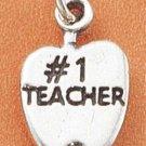 "STERLING SILVER ""#1 TEACHER"" APPLE CHARM"