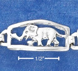 STERLING SILVER ANTIQUED ELEPHANT LINK BRACELET  **FREE SHIPPING**