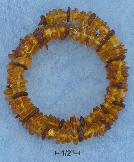 EXPANDABLE SMALL STACKED MULTICOLOR AMBER NUGGETS MEMORY WRAP BRACELET **FREE SHIPPING**