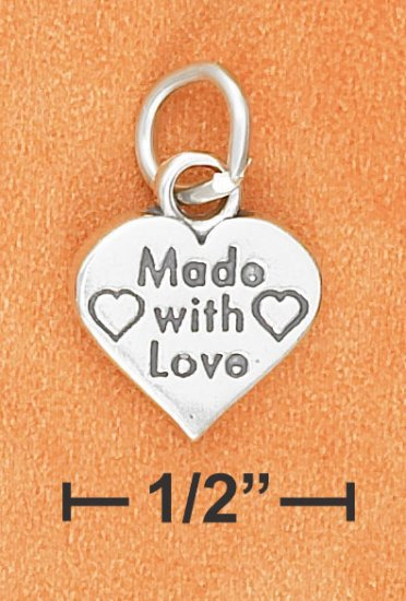 """STERLING SILVER FLAT 12MM """"MADE WITH LOVE"""" HEART CHARM"""
