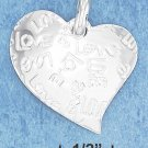 "STERLING SILVER FREEFORM HEART W/ ""LOVE"" INSCRIBED ALL OVER IT CHARM **FREE SHIPPING**"
