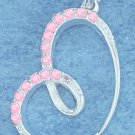 STERLING SILVER OFFSET ROUNDED LOOPY HEART W/ PINK CZ EDGING PENDANT CHARM