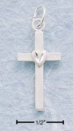 STERLING SILVER FLAT CROSS W/ CENTER HEART CHARM **FREE SHIPPING**