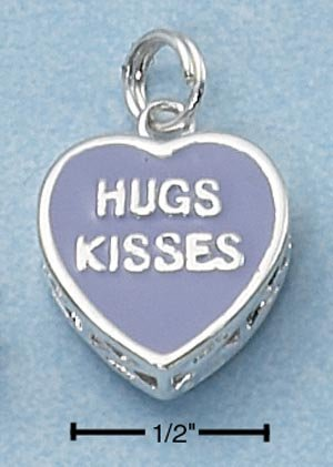 "STERLING SILVER 2 SIDED PURPLE ENAMEL ""HUGS KISSES"" HEART CHARM  **FREE SHIPPING**"