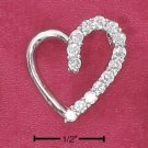 STERLING SILVER HALF HIGH POLISH HALF CZ OPEN HEART PENDANT  **FREE SHIPPING**
