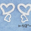 STERLING SILVER DOUBLE HEART CZ EARRINGS