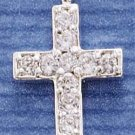 STERLING SILVER CROSS CHARM WITH CZS