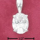 STERLING SILVER 7MM X 9MM CLEAR OVAL CZ PENDANT  **FREE SHIPPING**