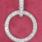 STERLING SILVER OPEN CIRCLE CZ PENDANT WITH REMOVABLE OVAL BAIL **FREE SHIPPING**