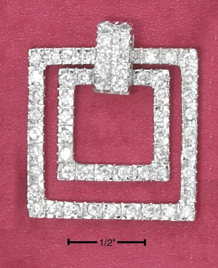 STERLING SILVER CZ FLOATING SQUARES PENDANT