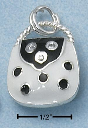 STERLING SILVER BLACK & WHITE DOTTED ENAMEL PURSE CHARM W/ ROUND CLEAR CZ'S