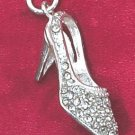 STERLING SILVER HIGH HEEL CHARM W/ CLEAR ROUND CZ'S