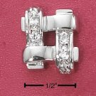 STERLING SILVER PAVE CZ WOVEN SQUARE POST EARRINGS